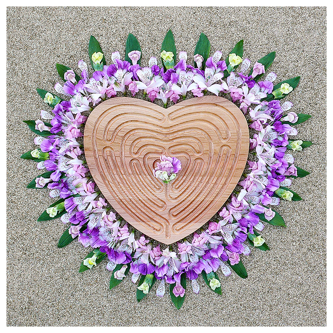 heart labyrinth; love labyrinth; finger labyrinth; hospital; hospice; walking; meditation; journey; prayer; pathway; mandala; wood; maple