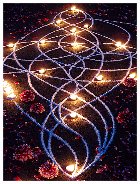 Whitney Krueger visionary art sacred celestial divine kolam rangoli language of light ephemeral earthereal