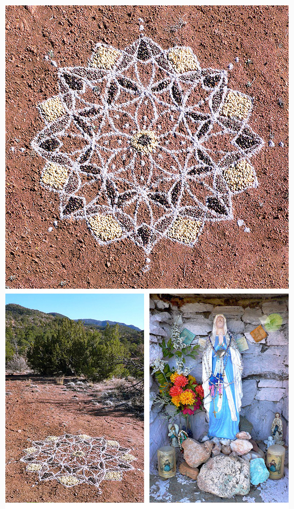 blue corn meal altar mandala santa fe new mexico art nature blessing prayer offering