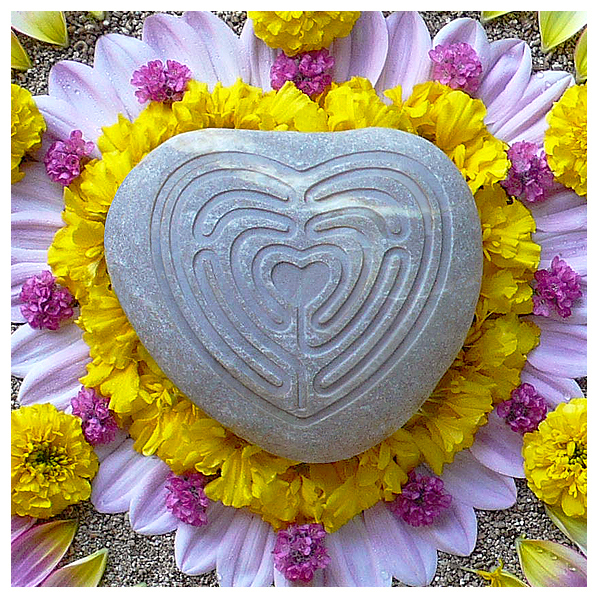 nature natural flower floral art botanical healing mandala heart labyrinth; love labyrinth; finger labyrinth; meditation; journey; prayer; pathway; blessing; milagro